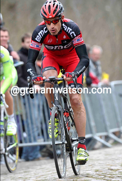George Hincapie in the 2012 Paris-Roubaix