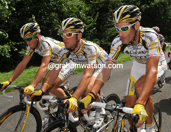 MARK RENSHAW, MARK CAVENDISH AND GEORGE HINCAPIE ON STAGE TWENTY ONE OF THE 2009 TOUR DE FRANCE