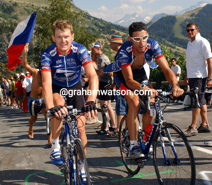 FLOYD LANDIS AND GEORGE HINCAPIE AT THE 2003 TOUR DE FRANCE