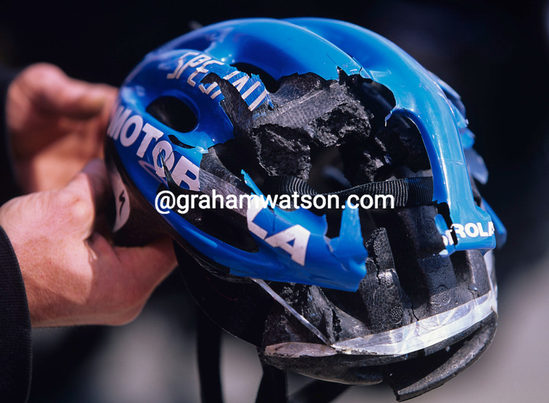 GEORGE HINCAPIE'S CRASH HELMET AFTER A CRASH IN THE 1996 TOUR OF SPAIN