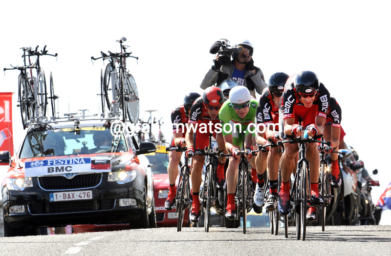 GEORGE HINCAPIE LEADS BMC ON STAGE TWO OF THE 2011 TOUR DE FRANCE