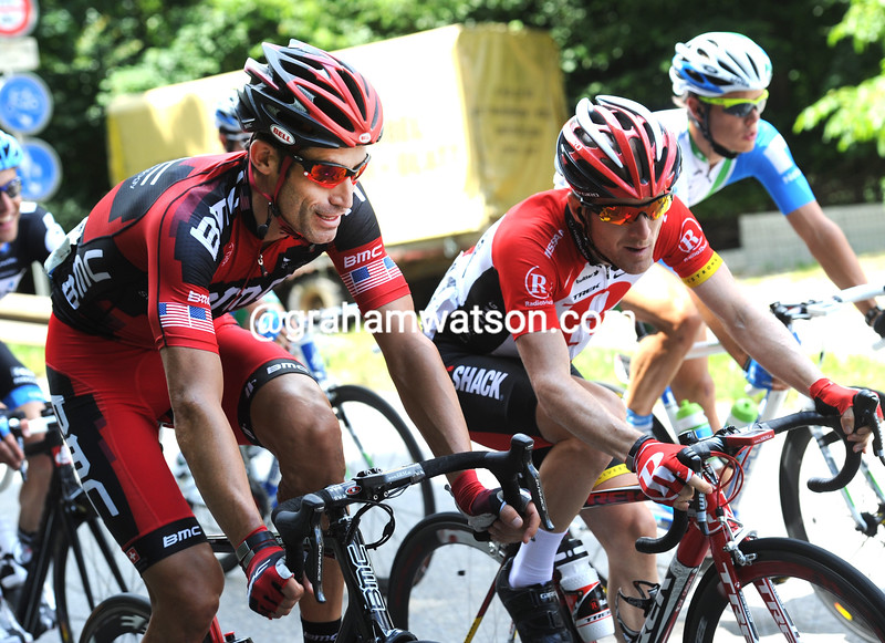 GEORGE HINCAPIE AND LEVI LEIPHEIMER ON STAGE FIVE OF THE 2011 TOUR DE SUISSE