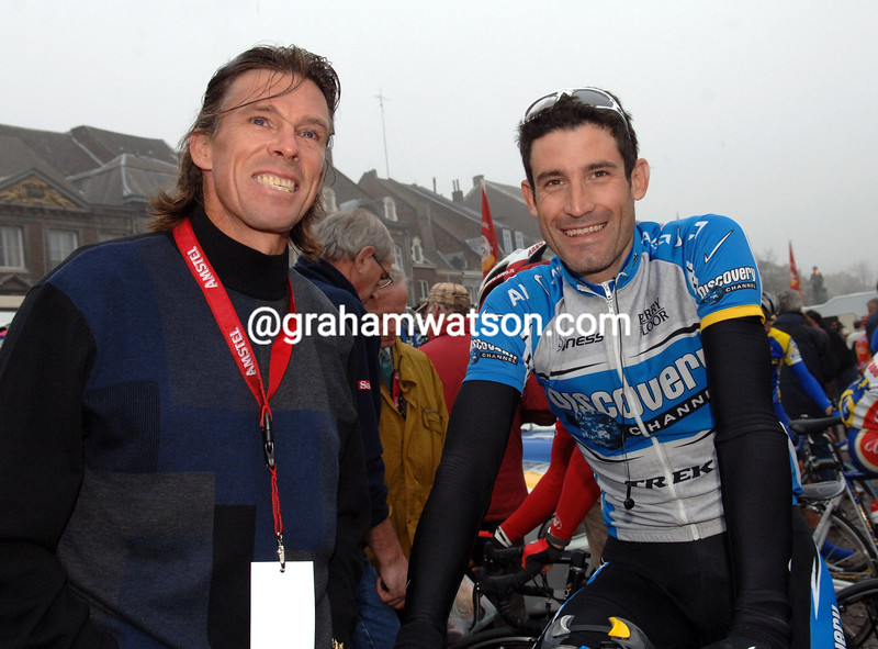 PHIL ANDERSON AND GEORGE HINCAPIE BEFORE THE 2004 AMSTEL GOLD RACE