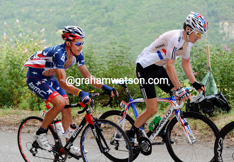 GERAINT THOMAS AND GEORGE HINCAPIE ON STAGE NNE OF THE 2011 TOUR DE FRANCE