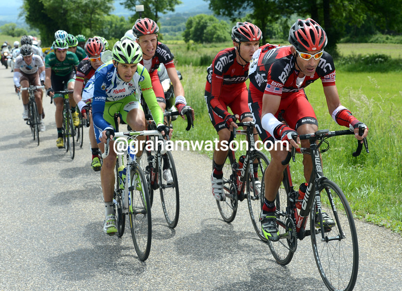 George Hincapie leads an attack on stage five of the 2012 Dauphine-Libere