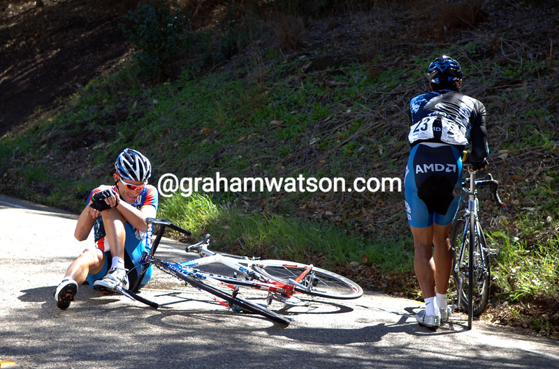 GEORGE HINCAPIE HAS CRASHED ON STAGE SIX OF THE 2007 TOUR OF CALIFORNIA