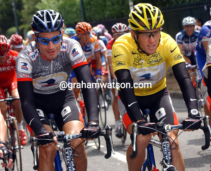 LANCE ARMSTRONG AND GEORGE HINCAPIE AT THE 2003 TOUR DE FRANCE