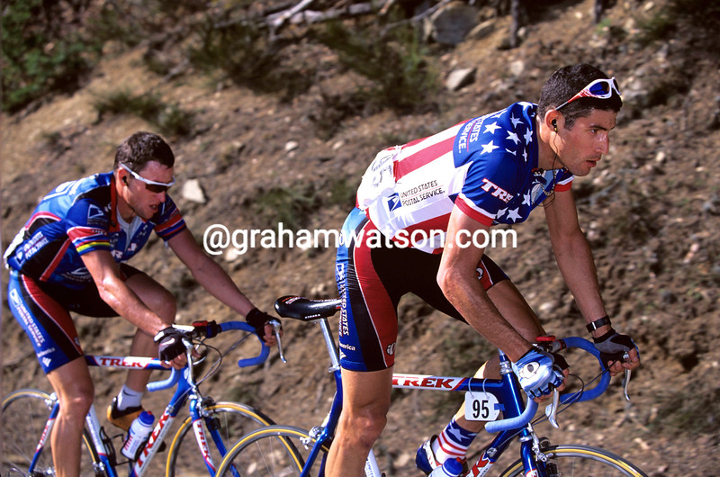 George Hincapie and Lance Armstrong in the 1998 Ruta del Sol