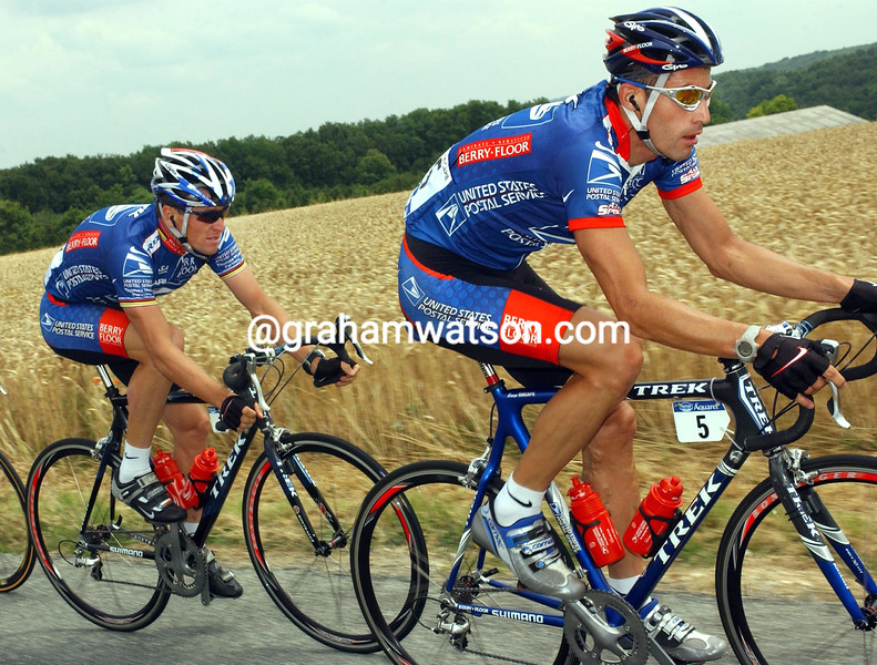 GEORGE HINCAPIE AND LANCE ARMSTRONG AT THE 2003 TOUR DE FRANCE