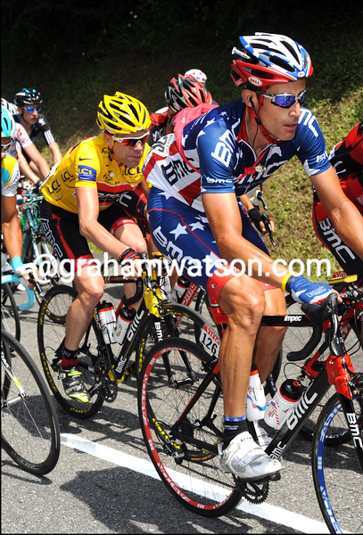 GEORGE HINCAPIE AND CADEL EVANS ON STAGE NNE OF THE TOUR DE FRANCE