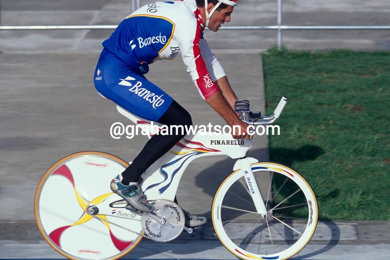 Prudencio  Indurain in the 1995 World Hour Record attempt