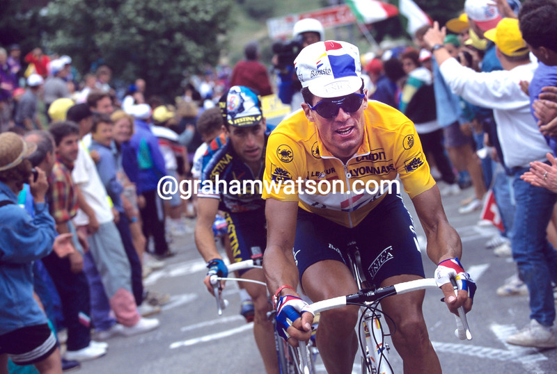 Miguel Indurain races to Hautecam in the 1994 Tour de France