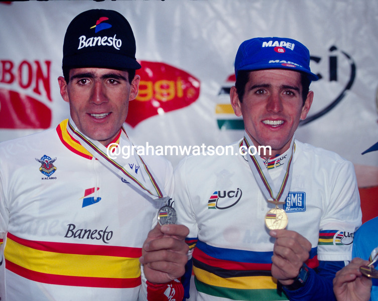 Abraham Olano and Miguel Indurain in the 1995 World Championships