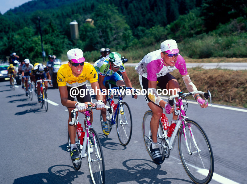 Bjarne Riis and Jan Ullrich in the 1996 Tour de France