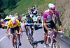 Bjarne Riis leads Jan Ullrich and Fernando Escartin in the 1997 Tour de France