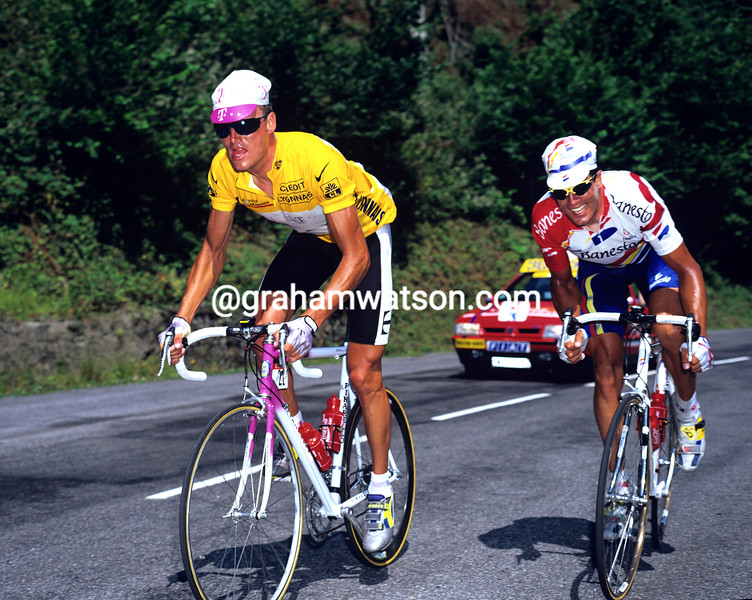 Bjarne Riis and Miguel Indurain in the 1996 Tour de France