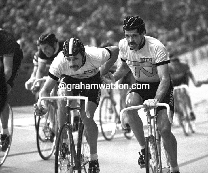DANNY CLARK AND DON ALLEN IN THE 1982 ROTTERDAM SIX-DAY RACE