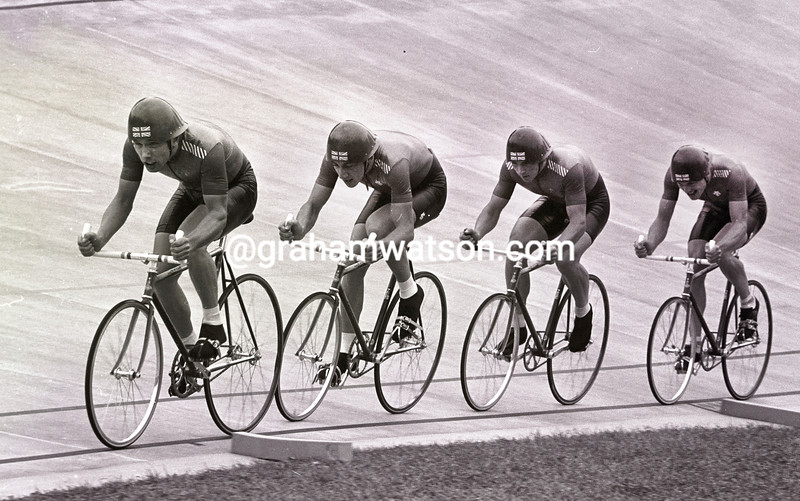 THE GREAT BRITAIN PURSUIT TEAM IN THE 1981 WORLD CHAMPIONSHIPS