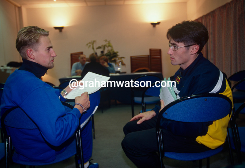 Bobby Julich chats with Frank Vandenbroucke at a Cofidis training camp in 1999