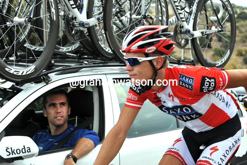 BRADLEY MCGEE WITH MATTI BRESCHEL ON STAGE FOURTEEN OF THE 2009 TOUR OF SPAIN
