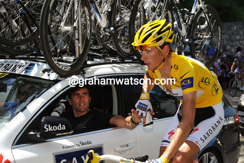 ANDY SCHLECK WITH BRADLEY MCGEE ON STAGE TEN OF THE 2009 TOUR DE FRANCE