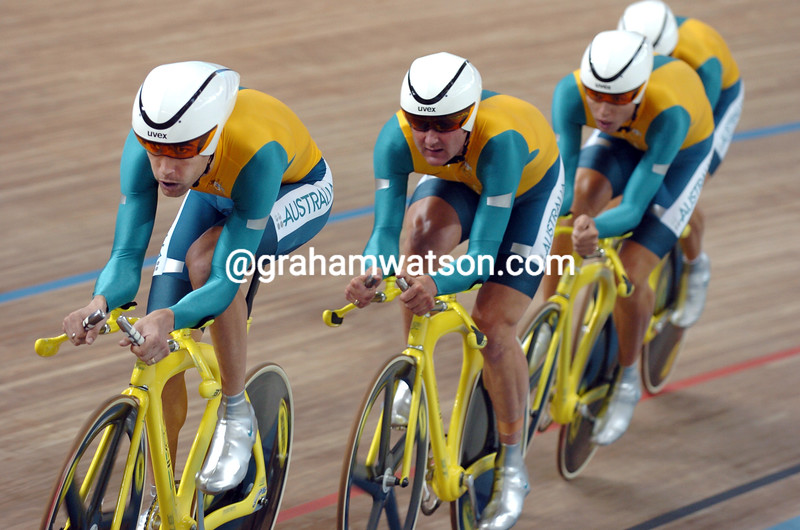 Bradley McGee leads Australia in the 2004 Olympic Games