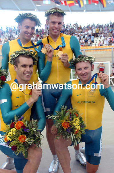 Australia pose happily after winning the team pursuit gold medal at the 2004 Olympic Games - Luke Roberts, Brett Lancaster, Graeme Brown and Bradley McGee