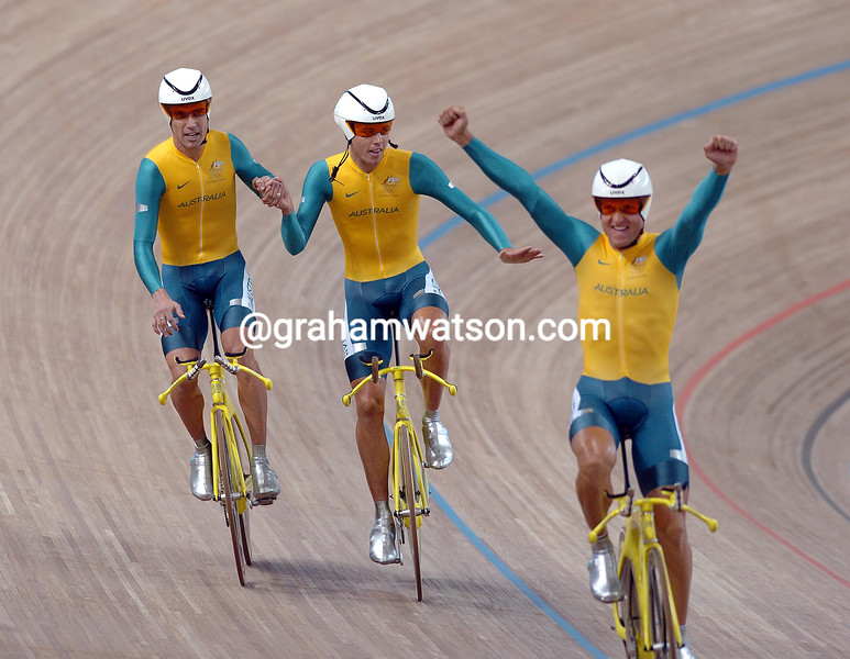 Australia after winning the team pursuit gold medal at the 2004 Olympic Games - Luke Roberts, Brett Lancaster, Graeme Brown and Bradley McGee