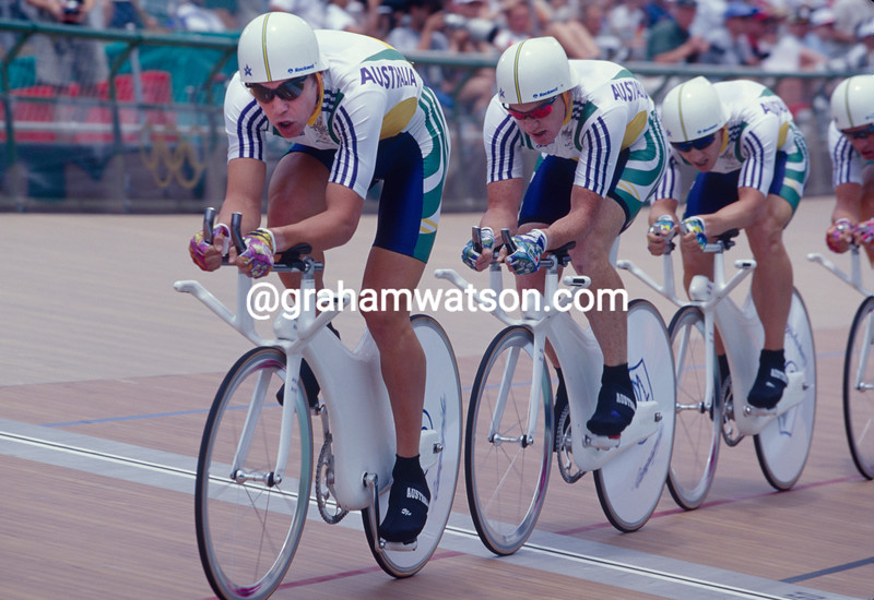 Bradley McGee leads Australia team pursuit in the 1996 Olynpic Games