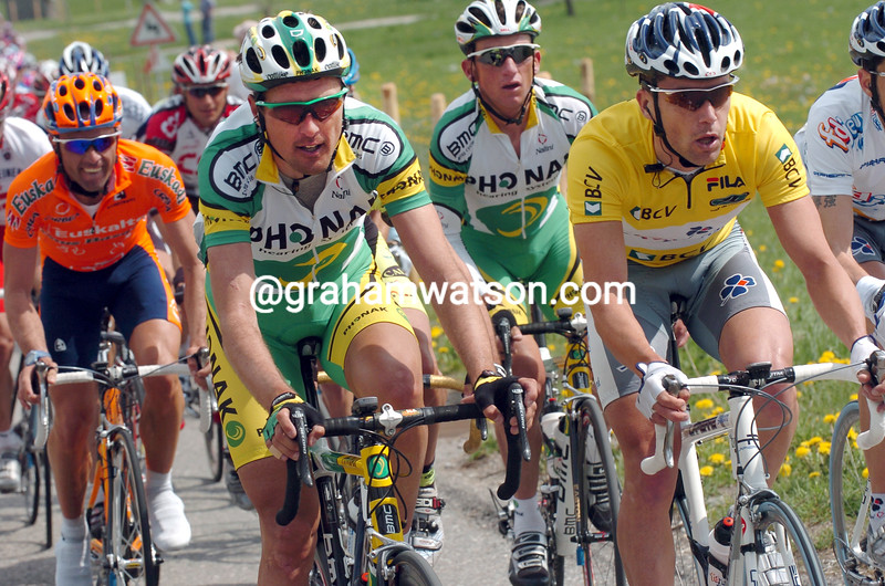 Bradley McGee and Alex Zulle in the 2004 Tour de Romandie