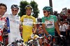 Robbie McEwen, Emmanuele Mengin, Baden Cooke and Bradley McGee pose before stage 3 of the 2003 Tour de France