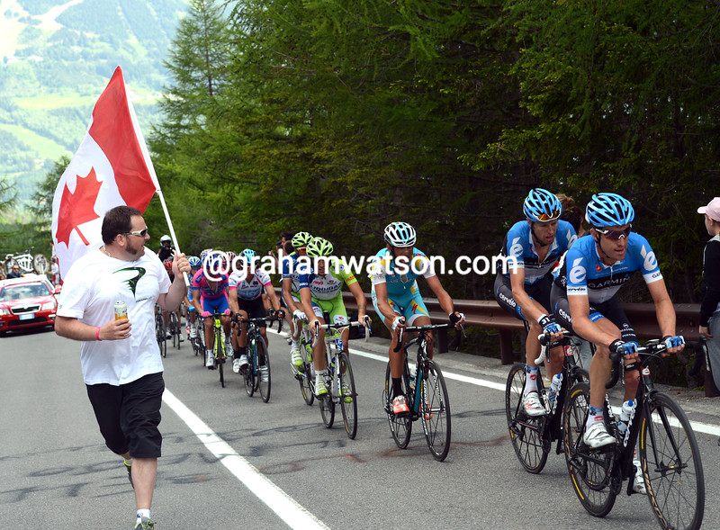 Garmin are cheered by a Canadian fan on stage twenty of the 2012 Giro d'Italia