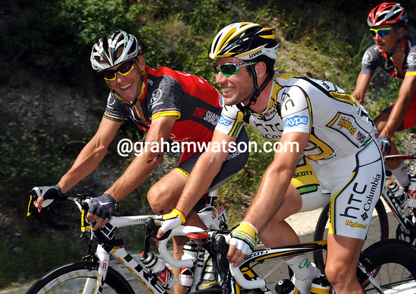 LANCE ARMSTRONG AND MARK CAVENDISH ON STAGE ELEVEN OF THE TOUR DE FRANCE