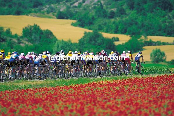 The 1996 Tour de France on the road to Valence...