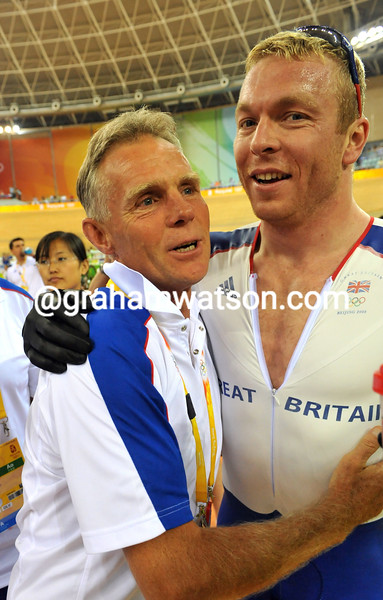 CHRIS HOY AND SHANE SUTTON AT THE 2008 OLYMPIC GAMES