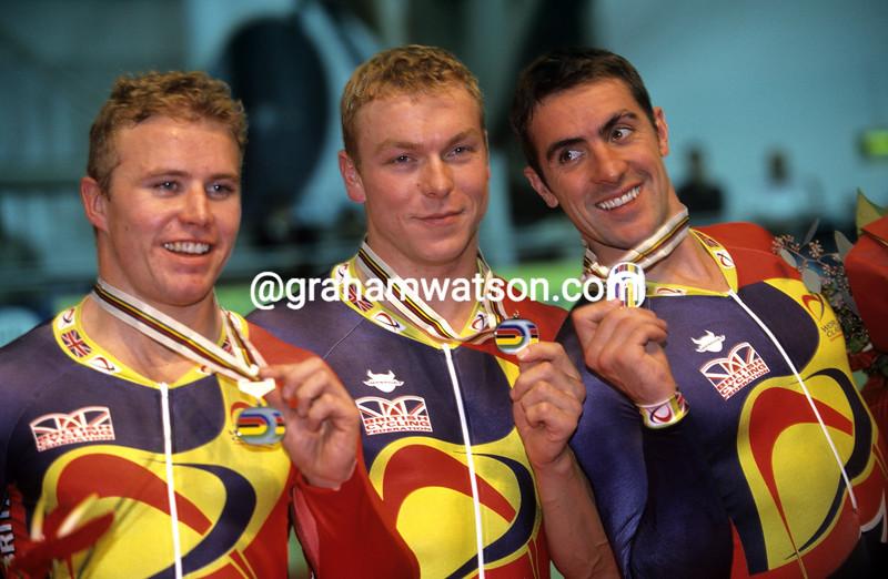 Chris Hoy Ross Edgar and Jason Queally in 2000