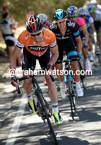 Cadel Evans attacks in the 2013 Tour Down Under