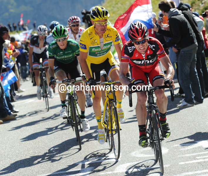 Cadel Evans chases Andy Schleck on the Col du Galibier in the 2011 Tour de France