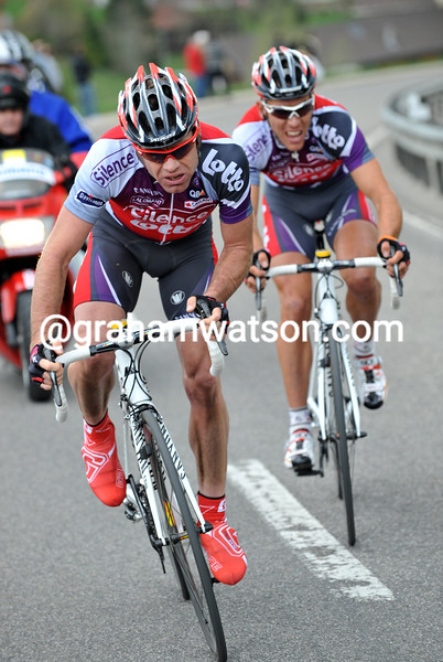CADEL EVANS AND PHILIPPE GILBERT ON STAGE TWO OF THE 2009 TOUR DE ROMANDIE