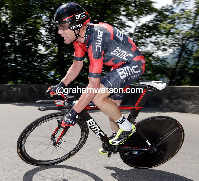 Cadel Evans in action during the Stage One Prologue of the 2014 Tour of Switzerland