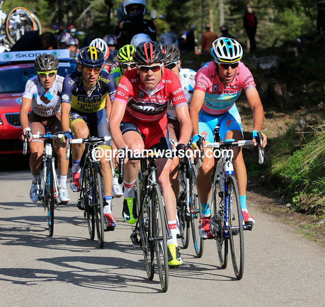 Cadel Evans leads on stage ten at the 2013 Giro d'Italia