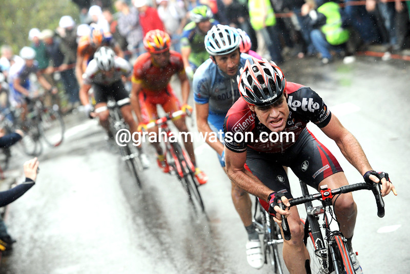 CADEL EVANS ATTACKS IN THE 2008 FLECHE WALLONE