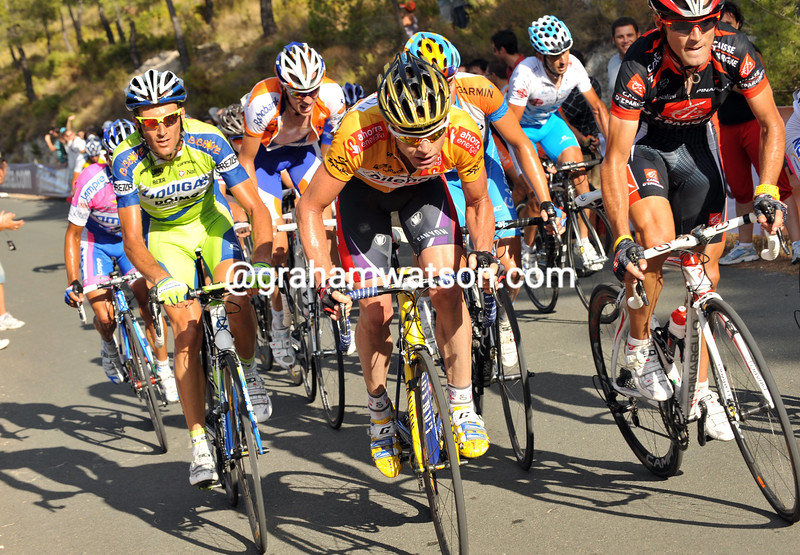 CADEL EVANS AND ALEJANDRO VALVERDE ON STAGE NINE OF THE 2009 TOUR OF SPAIN
