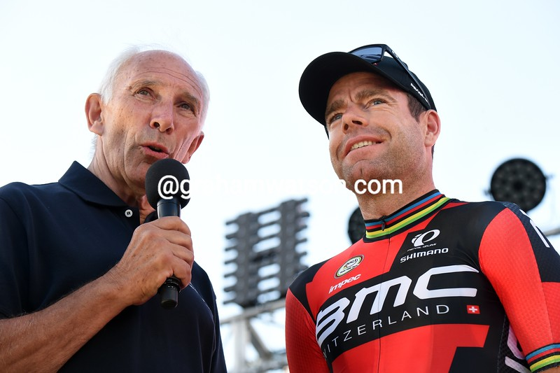 Phil LIggett and Cadel Evans at the 2015 Tour Down Under
