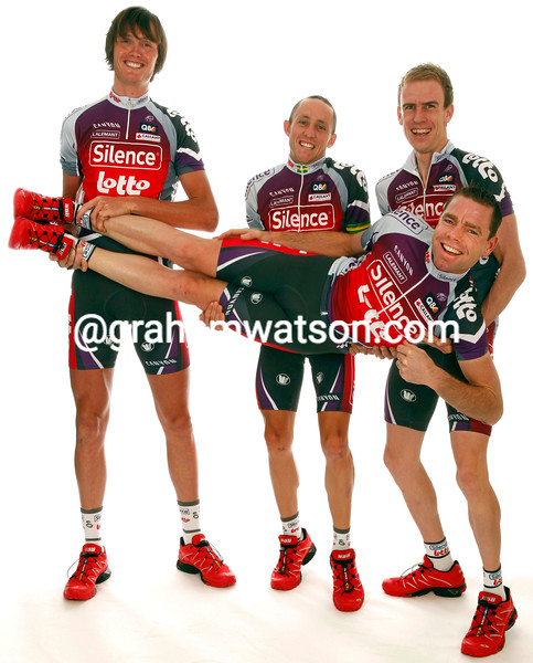 CADEL EVANS AT THE SILENCE-LOTTO TEAM SHOOT WITH CHARLY WEGELIUS AND MATTHEW LLOYD