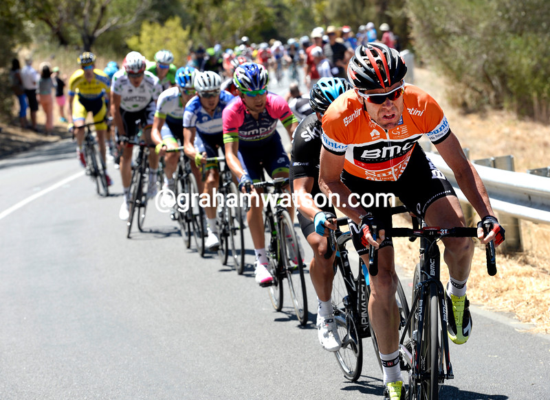 Cadel Evans attacks now, he's trying to shred Gerrans away from this group...