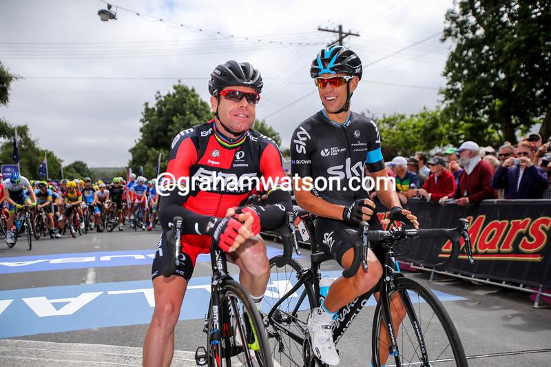 Richie Porte and Cadel Evansin the 2015 Australian national championships