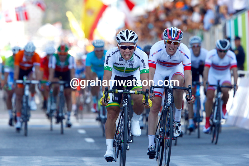 Caleb Ewan takes second place at the U-23 mens road race in the 2014 World Road Championships