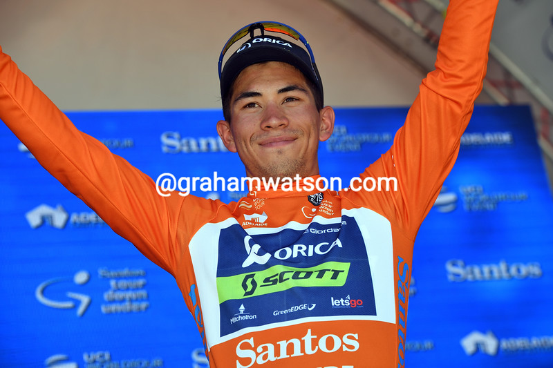 Caleb Ewan has won stage one and become the first race-leader of this Tour Down Under...