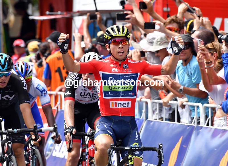 Caleb Ewan wins on stage six of the 2017 Tour Down Under